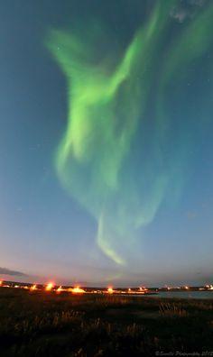 Auroras boreales en Canadá.-