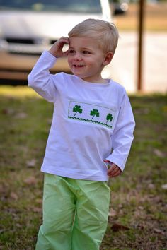 Boys Smocked Shamrocks Shirt & Green Gingham Pants