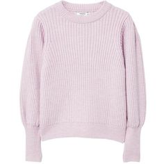 MANGO Puffed sleeves ribbed jumper ($70) ❤ liked on Polyvore featuring tops, sweaters, pink sweater, ribbed knit sweater, thick knit sweater, mango sweater and round neck sweater