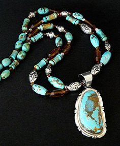 Turquoise & Sterling Silver Pendant Necklace with Turquoise Barrel Beads, Vintage Amber & Sterling