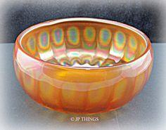 Lancaster Glass Optic Ray Carnival Glass Marigold Rose Bowl