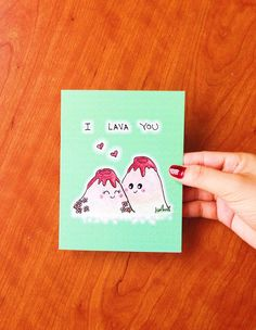 I lava you. Design is hand drawn by yours truly using good ol pencil crayons, then scanned and printed on high quality cardstock (chlorine and acid free). ♥ Card is blank inside for your own sentiments ♥ 4.1 (10.5 cm) x 5.8 (14.8 cm) in size (A6) ♥ Comes with a 100% recycled white envelope Shipping: ♥ Comes in protective cellophane sleeve ♥ Mailed via regular Canada Post. To keep shipping cost low, orders dont include tracking. We also offer: 5 cards for $19 USD…