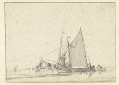 Twee schepen in stil water, Jan van de Cappelle, 1634 - 1679 Old Master, Sailing Ships, Transportation, Boat, Drawings, Water, Travel, Gripe Water, Dinghy