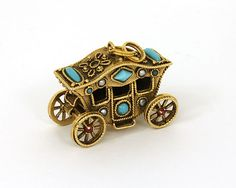 VINTAGE 14K TURQUOISE, PEARL & GARNET 3D MOVABLE CARRIAGE CHARM