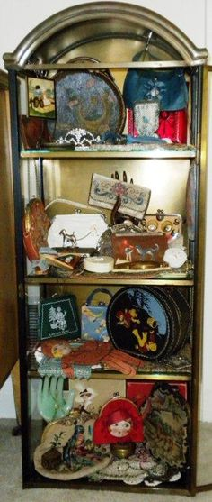 Display of mostly children's vintage purses.