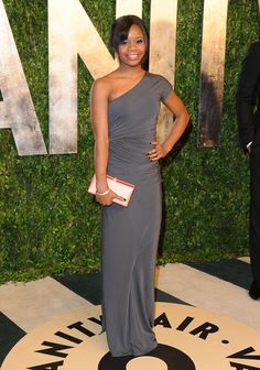 Gabby Douglas in a #donnakaran resort 2013 gown at the Vanity Fair #oscars party.