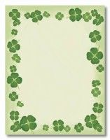 Four Leaf Clovers Letterhead perfect for St. Patrick's Day invitations, menus, flyers, and more!