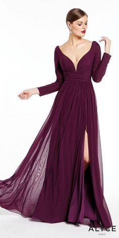 eb90739d1d Plunging V-shape Long Sleeve Mesh Jersey Slit Gown by Alyce Paris Dresses