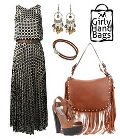 Shoulder bag with fringe and studs on the front www.girlyhandbags.co.uk