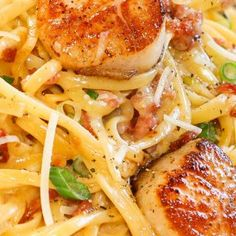 Carbonara with Pan Seared Scallops -perfectly seared scallops with pasta carbonara. dinner scallops Carbonara with Pan Seared Scallops Fish Recipes, Seafood Recipes, Gourmet Recipes, Dinner Recipes, Cooking Recipes, Healthy Recipes, Clam Recipes, Holiday Recipes, Gastronomia