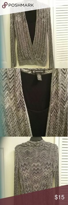 Festive INC Women's Top (with attached camisole) Sparkling silver & black outer with black rayon spandex camisole attached for a classy layered look. CUTENESS ALERT! Tag is XL, I am LG. & fits fine.  BUNDLE & SAVE INC International Concepts Tops Blouses