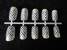 Gold and Navy Blue Dotted Geometric / Chevron Nail Set, S$15.00