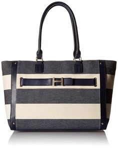 Tommy Hilfiger TH Rugby Stripe Tote Top Handle Bag, Navy/Natural, One Size for sale Wooden Handle Bag, Shoulder Handbags, Shoulder Bags, Rugby, Leather Bag, Gym Bag, Tommy Hilfiger, Purses, Navy