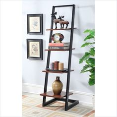 4 Tier Ladder Bookshelf in Black/Cherry Finish - Convenience Concepts 4 Tier Ladder by Convenience Concepts is a great addition to any home, office, or even dorm. Featuring four fixed open shelves that allow you to display knick knack Ladder Bookshelf, Bookcase Wall, Bookshelves, Metal Bookcase, Steel Furniture, Home Furniture, Furniture Design, Rustic Furniture, Modern Furniture