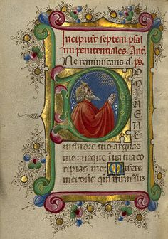 Gualenghi-d'Este Hours  Initial D: David in Prayer  Taddeo Crivelli, illuminator; Guglielmo Giraldi, illuminator  Italian, Ferrara, about 1469  Tempera colors, gold leaf, gold paint, and ink on parchment bound between wood boards covered with dark red morocco      4 1/4 x 3 1/8 in.  MS. LUDWIG IX 13
