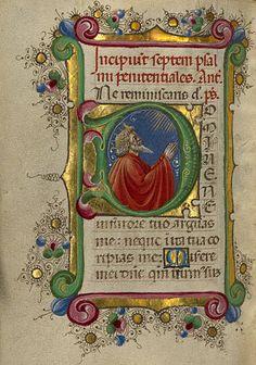 Taddeo Crivelli  -  Initial D: David in Prayer  - Gualenghi-d'Este Hours  -  c.1469