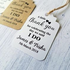 Personalised Wedding Gift Tags Thank You For Sharing Our First Meal Labels Wedding Gift Tags, Unique Wedding Gifts, Personalized Wedding Favors, Wedding Favours, Wedding Thank You, Celebrity Weddings, Twine, Wedding Venues, Wedding Decorations