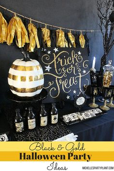 Be on Trend with a Black & Gold Halloween Party! Ideas and inspiration by Michelle's Party Plan-It