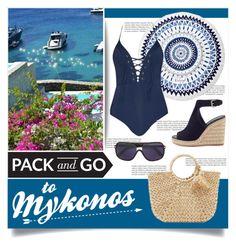 """Mykonos"" by tammara-d ❤ liked on Polyvore featuring Balmain, The Beach People, Hat Attack, Prada, Tom Ford, swimwear, Packandgo, ResortFashion and greekislands"