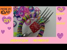 ▶ DIY Hexafish Loom Armband Anleitung mit Gabel deutsch - how to make a rainbow loom Hexafish bracelet - YouTube