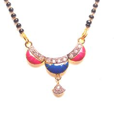 Multicolor gold plated Cubic Zirconia mangalsutra