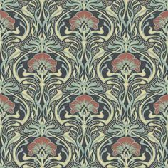 Crown CWV ft Moss Paper Floral Unpasted Paste the Paper Wallpaper at Lowe's. With a prominent moss hue, this nouveau floral wallpaper has a glamorous yet earthy feel. Its brilliant ogee design features blossoming red flowers and Wallpaper Colour, Luxury Wallpaper, Paper Wallpaper, Green Wallpaper, Wallpaper Roll, Wall Wallpaper, Peacock Wallpaper, Funky Wallpaper, Wallpaper Designs