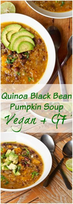 Vegan Quinoa Black Bean Pumpkin Soup is the ultimate one pot fall inspired meal. 35 minutes from start to finish with uber healthy ingredients. A real feel good meal. (Gluten Free Recipes For One) Vegan Soups, Vegan Dishes, Vegetarian Recipes, Healthy Recipes, Healthy Meals, Vegan Bean Soup, Free Recipes, Tasty Meals, Vegan Pumpkin Soup