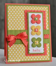 handmade greeting card ... luv the orange, olive and mustard color combo ... great design ... three layered flowers ... polka dot patterned base paper ... ribbon wrap with perfectly tied bow ... happy card!! ... Stampin' Up!