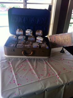 """""""Baggage Clam"""" the party favors for our bridal shower! Vintage travel themed!"""