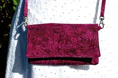 Cell Phone Purse Cross Body Shoulder Bags Fits iPhone 6Plus Zipper Pocket Cranberry Chrysanthemum  Batik by mylifeinfabric on Etsy