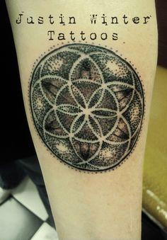 Dotwork mandala geometric tattoo by Justin Winter Tacoma, Wa