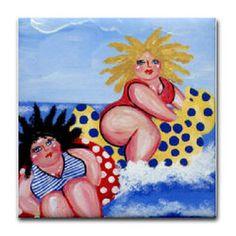 2 Chubby Beach Divas Wave Riders Whimsical by reniebritenbucher