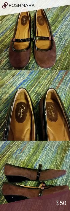 """Clarks Artisanal Mary Janes Burgundy suede with black patent leather trim.  Awesome cushioned footbed. Low (about 1 1/2"""") heel.  Leather lining.  NWOT. Excellent condition! Clarks Shoes"""