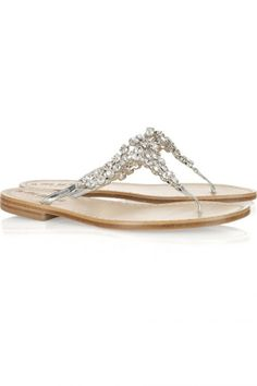 373ca1d9a365 Trade your wedding heels for a pretty pair of jewelled sandals or ballet  flats in embellished metallic shades for a glamorous bridal or bridesmaid  look.