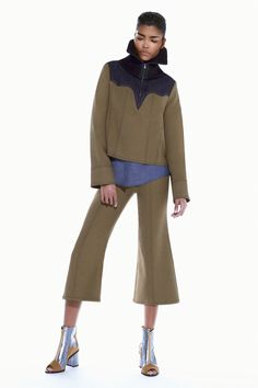 A hoodie transformed with interesting yoke + high collar. DIY with Threadhead TV! ~BCBG Max Azria Pre-Fall 2016 Fashion Show