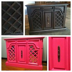 Vintage record player that @Barbara Barrett and I spray painted bright pink for my new dressing room! We put mirrors in front of where the speakers were.