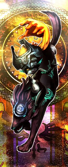 Midna and Wolf Link, Hyrule Warriors / Zelda Musou artwork by まっちょー