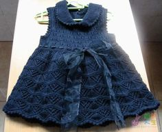 knit dress pattern with lovely ribbon bow