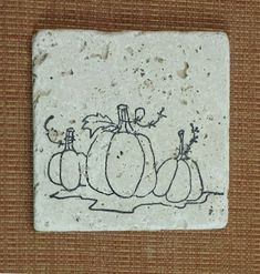 Fall Inspired Pumpkin Vine Travertine Marble Coasters by CircleOakTreasures on Etsy
