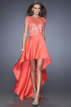 La Femme 19800 - Hot Coral Lace and Satin High Low Prom Dresses Online Homecoming Dresses 2017, Prom Dresses Jovani, High Low Prom Dresses, Sherri Hill Prom Dresses, A Line Prom Dresses, Prom Dresses Online, Dressy Dresses, Formal Evening Dresses, Dresses 2014