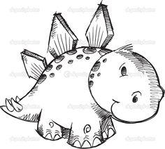 Симпатичные эскиз каракули стегозавра динозавр векторные иллюстрации - Стоковая иллюстрация: 26222553
