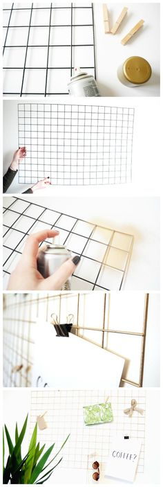 How To Make a DIY Gold Wire Memo Board. I'd be happy keeping it black.How To Make a DIY Gold Wire Memo Board. I'd be happy keeping it black. Memo Boards, Wire Memo Board, Cork Boards, Wall Boards, Diy Cork Board, Gold Diy, Home Projects, Craft Projects, Christmas Projects