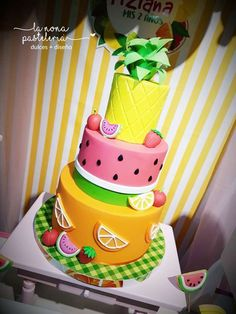 Loving the birthday cake at this Fruit Birthday Party!! See more party ideas and share yours at CatchMyParty.com #fruit #birthdaycake