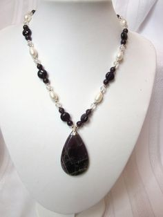 The Amethyst Collection -  Pear shaped pendant and freshwater pearls Necklace