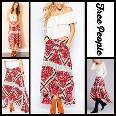 """SOLD 1-HOUR SALE❗️FREE PEOPLE Midi Maxi Skirt NEW WITH TAGS RETAIL PRICE: $128 FREE PEOPLE Boho Print Hi-Lo Midi Skirt   * A high quality, lightweight fabric w/a beautiful allover vivid boho floral print   * Hi-Lo hem 28-36""""L  * Banded waist w/back zip closure; Side pockets   * Pleated construction & hi lo hem  *  Tagged size 2 (XS), will approx fit sizes 0-2 Fabric: Rayon   Color: Pimento Ivory Combo Item: 95900 Red fuschia  No Trades ✅Offers Considered*/Bundle Discounts✅  *Please use the…"""
