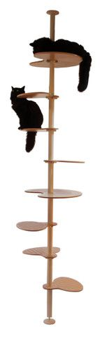 Elevation Modular Cat Tower System - contempocat: Stolmen pole ($30) and brackets (4/$10) from Ikea; Pepper platform ($30), 2 steps ($52) and standard platform ($39) in white lacquer ($161 total)