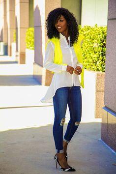 #Neon #Sweater + #Asymmetrical #Shirt + #Distressed #Skinnies