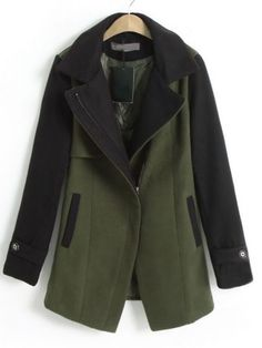 Army Green Contrast Coat