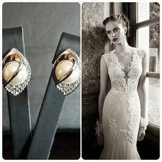 Berta Bridal Wedding Dress & BrideIstanbul Earrings