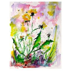 Art Super SALE Dandelions and Bees Watercolor Medicinal Plants - The Art of Ginette Callaway